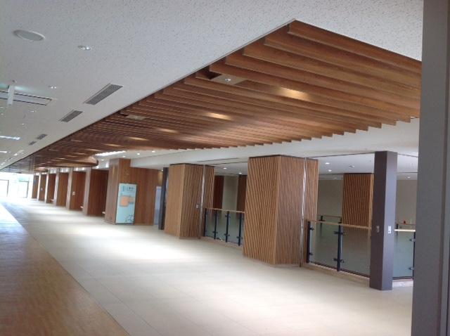 茨城県産杉 準不燃木材 天井ルーバー材 着色塗装品